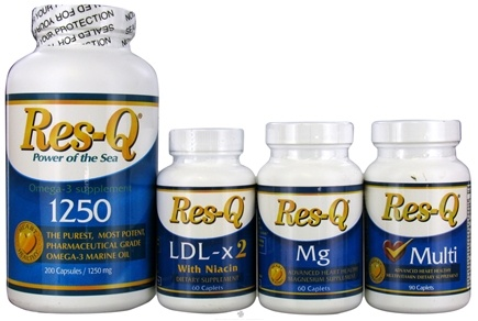 DROPPED: Res-Q - Cardio Pack for Heart Health: 3x  Res-Q 1250, LDL X2 with Niacin, Mg and Multi