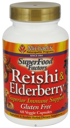 DROPPED: Michael's Naturopathic Programs - SuperFood Factors Reishi & Elderberry Superior Immune Support - 60 Vegetarian Capsules CLEARANCE PRICED