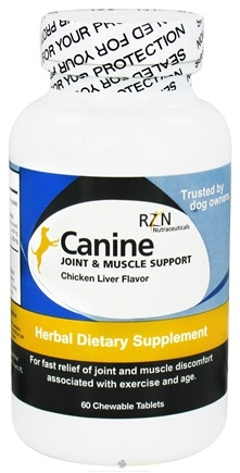 DROPPED: RZN Nutraceuticals - Canine Joint & Muscle Support Chicken Liver - 60 Chewable Tablets Formerly Pet Relief for Dogs CLEARANCE PRICED