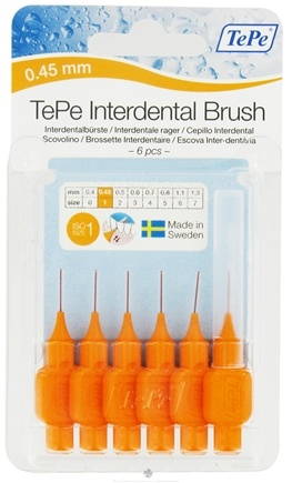 DROPPED: TePe Oral Health Care - Interdental Brush 0.45 mm Orange - 6 Piece(s)