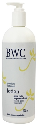 Beauty Without Cruelty - Lotion Hand & Body Treatment Extra Rich Fragrance Free - 16 oz.