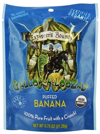 DROPPED: Explorer's Bounty - Organic Gallop A Loozas Puffed Banana - 0.75 oz.