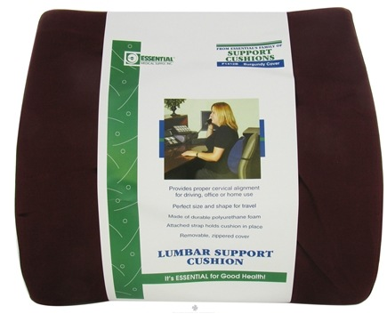 """DROPPED: Essential Medical Supply - Lumbar Support Cushion Low Profile Style F1412B 14"""" W x 13"""" H Burgundy Cover - CLEARANCE PRICED"""