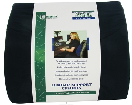 """DROPPED: Essential Medical Supply - Lumbar Support Cushion Low Profile Style F1412 14"""" W x 13"""" H Navy Cover - CLEARANCE PRICED"""