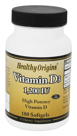 DROPPED: Healthy Origins - Vitamin D3 1200 IU - 180 Softgels