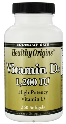 DROPPED: Healthy Origins - Vitamin D3 High Potency Vitamin D 1200 IU - 360 Softgels CLEARANCE PRICED