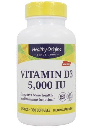 Healthy Origins - Vitamin D3 5000 IU - 360 Softgels