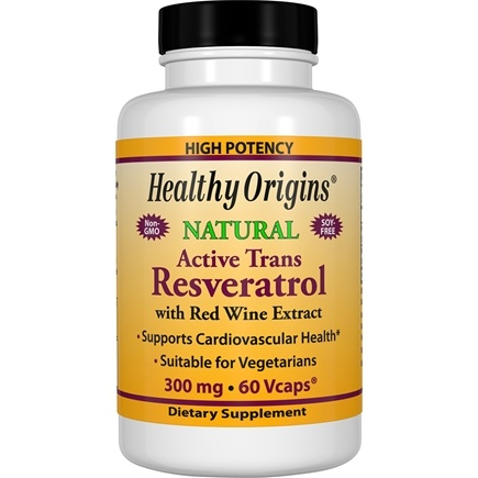 Healthy Origins - Resveratrol with Red Wine Extract 300 mg. - 60 Vegetarian Capsules