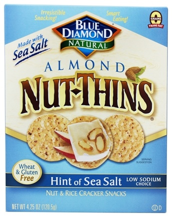 Blue Diamond Growers - Almond Nut-Thins Nut & Rice Cracker Snacks Hint of Sea Salt - 4.25 oz.