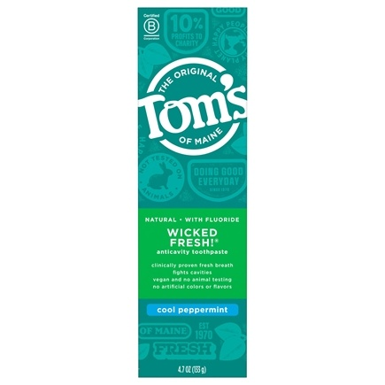 Tom's of Maine - Natural Toothpaste Fluoride Long-Lasting Wicked Fresh Cool Peppermint - 4.7 oz.