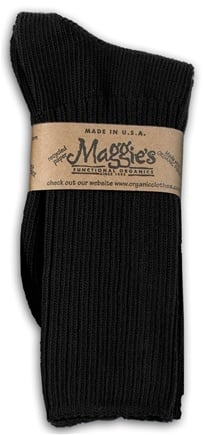 DROPPED: Maggie's Organics - Socks Cotton Crew Size 9-11 Black - 1 Pair CLEARANCE PRICED