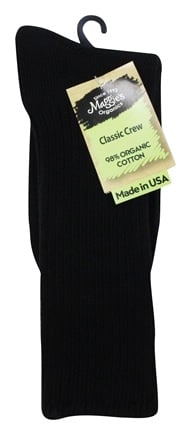 Maggie's Organics - Socks Cotton Crew Size 10-13 Black - 1 Pair