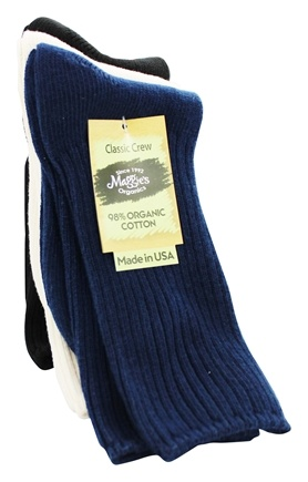 Maggie's Organics - Socks Cotton Crew Tri-Pack Size 9-11 Navy Natural Black - 3 Pack