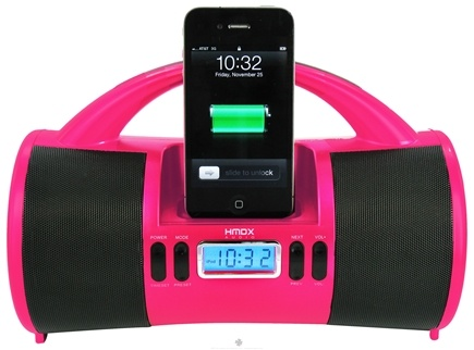 DROPPED: HoMedics - HMDX Audio Portable Mini Boombox With iPod Dock HMDX-SBOXPK Pink - CLEARANCE PRICED
