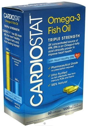 DROPPED: Amerifit Brands - Cardiostat Omega-3 Fish Oil Triple Strength with Heart Healthy EPA 1000 mg. - 60 Softgels