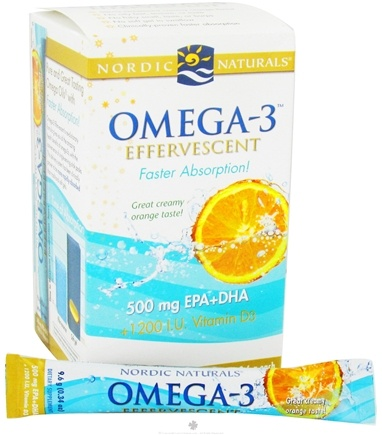 DROPPED: Nordic Naturals - Omega-3 Effervescent Creamy Orange 500 mg. - 21 Packet(s) CLEARANCE PRICED