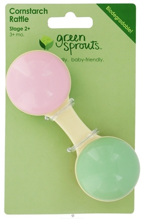 DROPPED: Green Sprouts - Plastic Cornstarch Dumbbell Rattle 0 Months and Up Green & Pink - CLEARANCE PRICED