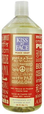 DROPPED: Kiss My Face - Peace Soap 100% Natural All Purpose Castile Soap Pomegranate Acai - 34 oz.