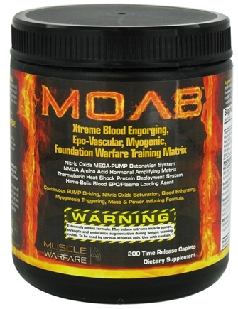 DROPPED: Muscle Warfare - MOAB Muscle Pump and Nitric Oxide Formula - 200 Caplets CLEARANCE PRICED