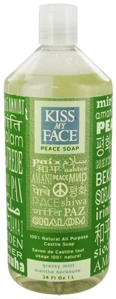 DROPPED: Kiss My Face - Peace Soap 100% Natural All Purpose Castile Soap Grassy Mint - 34 oz.