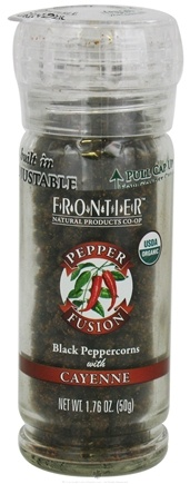 DROPPED: Frontier Natural Products - Pepper Fusion Organic Black Peppercorns with Cayenne - 1.76 oz. CLEARANCE PRICED