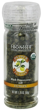 DROPPED: Frontier Natural Products - Pepper Fusion Organic Black Peppercorns with Lemon - 1.76 oz. CLEARANCE PRICED