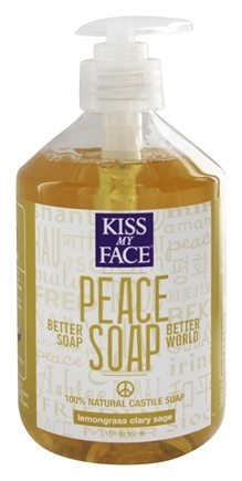 DROPPED: Kiss My Face - Peace Soap 100% Natural All Purpose Castile Soap Lemongrass Clary Sage - 17 oz.