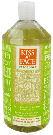 DROPPED: Kiss My Face - Peace Soap 100% Natural All Purpose Castile Soap Lemongrass Clary Sage - 34 oz. CLEARANCE PRICED