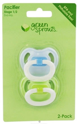 DROPPED: Green Sprouts - Silicone Basic Newborn Pacifier Stage 1 0-6 Months Green & Blue - 2 Pack CLEARANCE PRICED