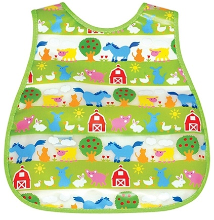 DROPPED: Green Sprouts - Waterproof Scenic Wipe Off Pocket Bib 12-24 Months Stage 4 Farm