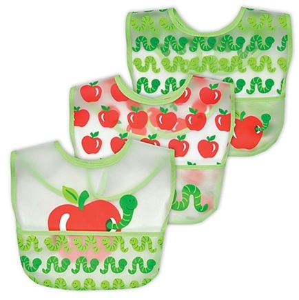 DROPPED: Green Sprouts - Waterproof Pocket Bib 6-12 Months Stage 3 Apple & Worm Sage - 3 Pack