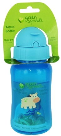 DROPPED: Green Sprouts - Non-Spill Aqua Bottle BPA Free 6 Months Stage 3-4 Aqua Blue - 10 oz. CLEARANCE PRICED