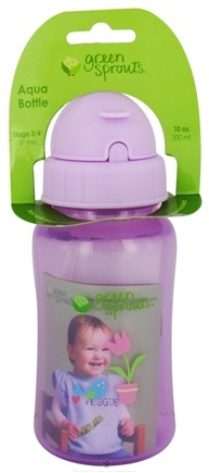 DROPPED: Green Sprouts - Non-Spill Aqua Bottle BPA Free 6 Months Stage 3-4 Lavender - 10 oz. CLEARANCE PRICED