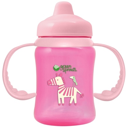 DROPPED: Green Sprouts - Sippy Cup Non-Spill BPA Free 3-24 Months Stage 2-4 Pink - 6.5 oz. CLEARANCE PRICED