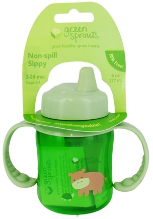 DROPPED: Green Sprouts - Sippy Cup Non-Spill BPA Free 3-24 Months Stage 2-4 Transparent Green - 6 oz. CLEARANCE PRICED