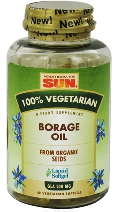 DROPPED: Health From The Sun - 100% Vegetarian Borage Oil 200 mg. - 60 Vegetarian Softgels CLEARANCE PRICED