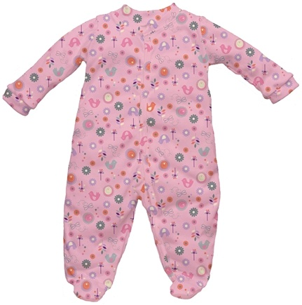 DROPPED: Green Sprouts - Origins Organic Footies Medium 6-12 Months Chickadee Rose Pink