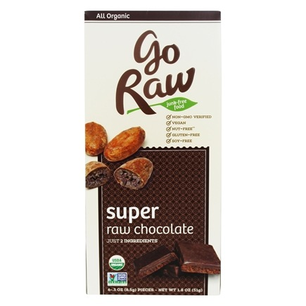 Go Raw - Real Live Chocolate 6 Individually Wrapped .3 oz. Pieces - 1.8 oz.