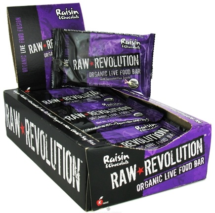 DROPPED: Raw Revolution - Organic Live Food Bar with Sprouted Flax Seeds Raisin & Chocolate - 2.2 oz.
