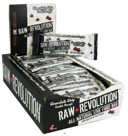 DROPPED: Raw Revolution - All Natural Live Food Bar with Sprouted Flax Seeds Chocolate Chip Cookie Dough - 1.6 oz.
