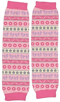 """DROPPED: Green Sprouts - Organic Cotton Print Legwarmers 13"""" Origins Chickadee Rose Pink"""