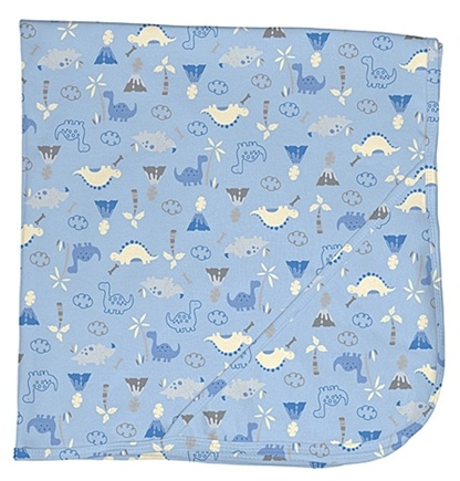 "DROPPED: Green Sprouts - Origins Organic Receiving Blanket 30"" x 30"" Dino Cornflower Blue"