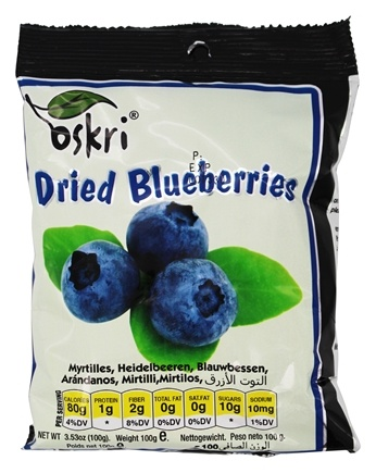 Oskri - Gluten Free Dried Fruit Blueberries - 3.53 oz.