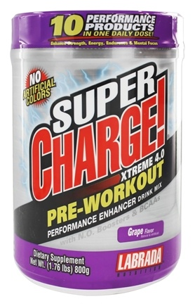 Labrada - UNPUBLISHED Super Charge Xtreme Pre-Training Drink Mix Grape - 1.76 lbs.