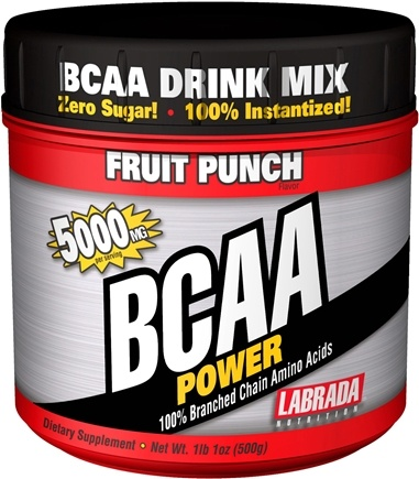 DROPPED: Labrada - BCAA Power 100% Branched Chain Amino Acids Fruit Punch 5000 mg. - 500 Grams