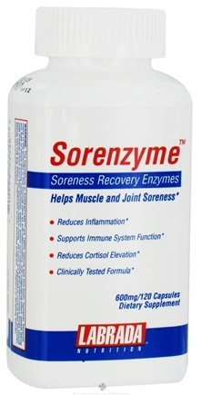 DROPPED: Labrada - Sorenzyme Soreness Recovery Enzymes 600 mg. - 120 Capsules CLEARANCE PRICED