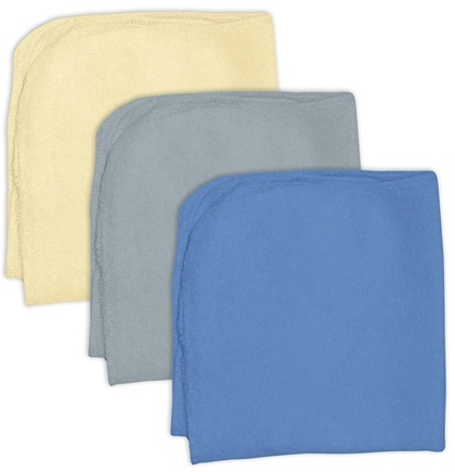 DROPPED: Green Sprouts - Organic Cotton Knitted Terry Washcloths Boys Cream, Grey, Blue - 3 Pack