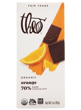 Theo Chocolate - Classic Collection Organic Dark Chocolate 70% Cacao Orange - 3 oz.