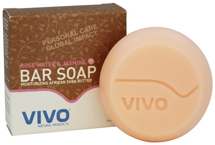 VIVO Natural Products - Moisturizing African Shea Butter Bar Soap Rose Water & Jasmine - 4.5 oz.