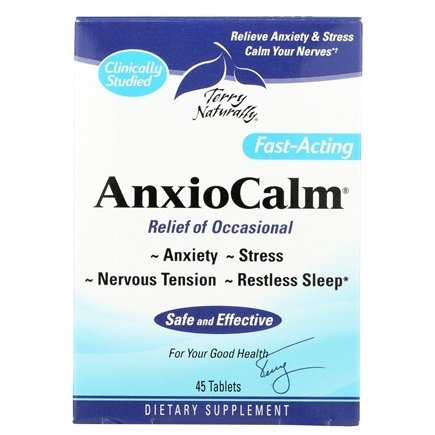 EuroPharma - Terry Naturally AnxioCalm - 45 Tablets Formerly AnxioFit-1 Fast-Acting Anxiety Relief